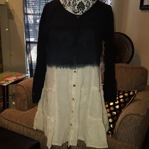 TUNIC DRESS Top Ombre' Size M LS Navy White NEW